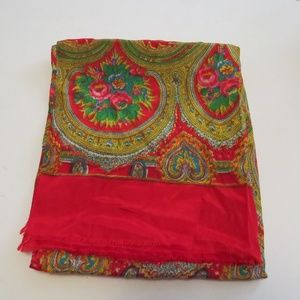 Vintage Silk Scarf Hand Rolled Edges Red Paisley